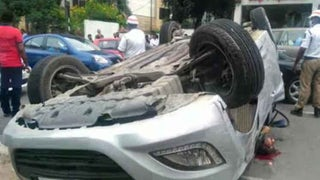 One youngster killed, two critically injured as car overturns after hitting divider in Hyderabad