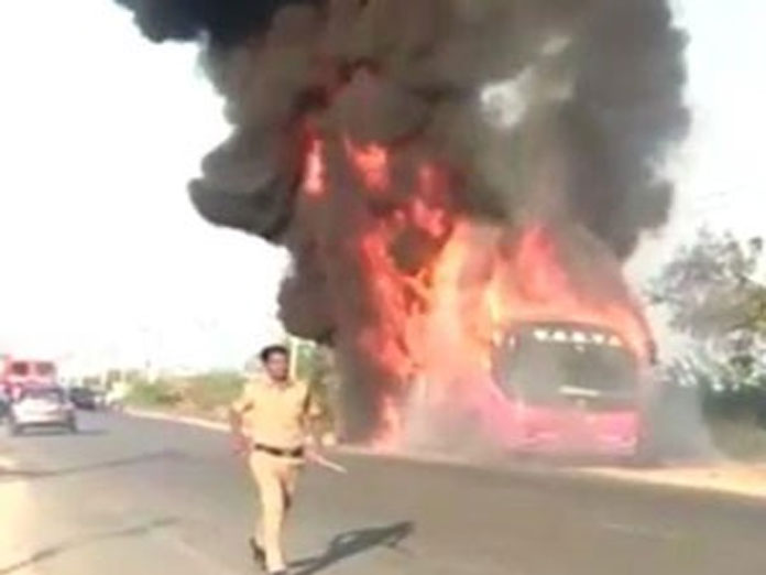 Volvo bus catches fire near Ibrahimpatnam, Hyderabad