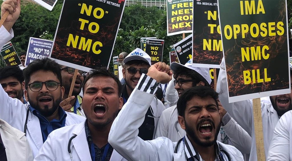 Doctors protest against NMC bill in Hyderabad