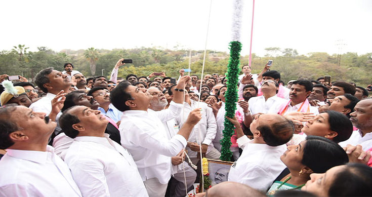 KTR unfurls flag at Telangana Bhavan