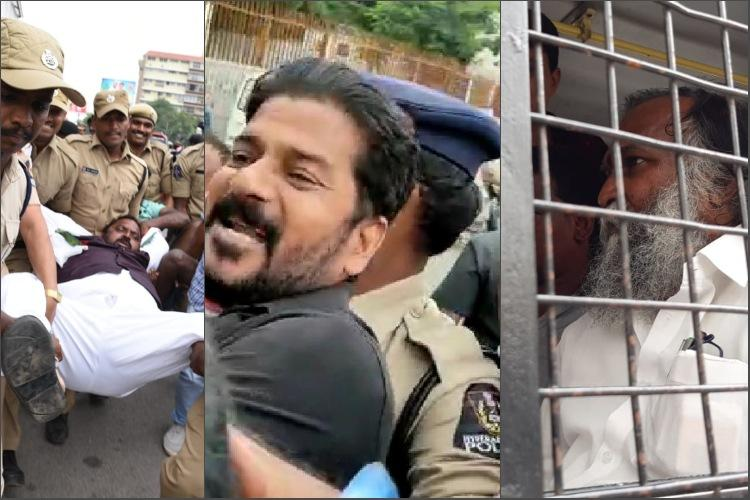 Protesting Congress men arrested at Pragathi Bhavan