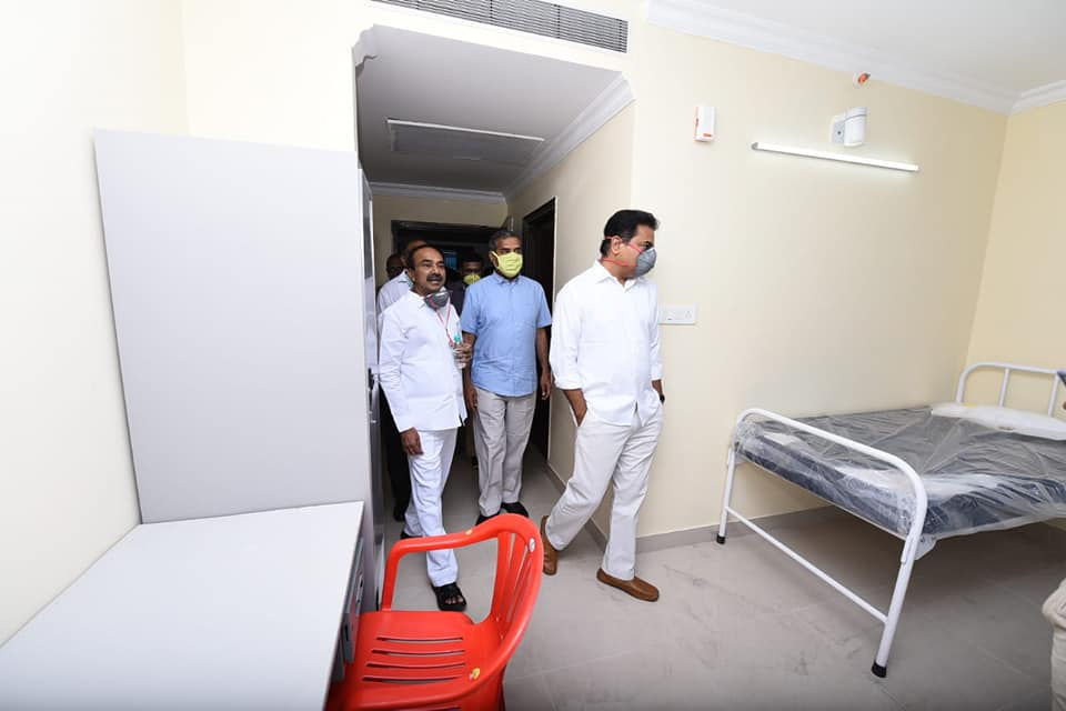KTR inspect healthcare facility at Gachibowli Stadium