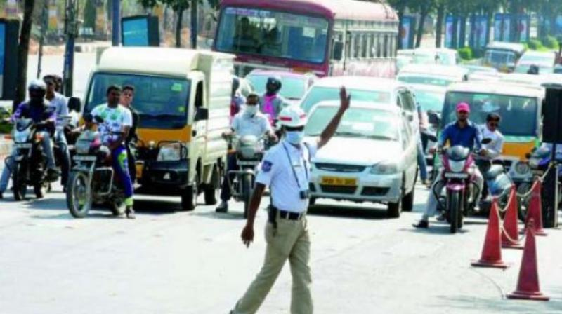 Traffic curbs at Begumpet