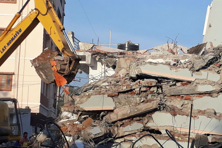 Two-storey building collapsed at Goshamahal in Hyderabad