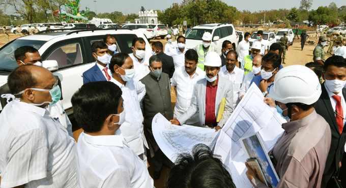 CM KCR inspects TS Secretariat construction works
