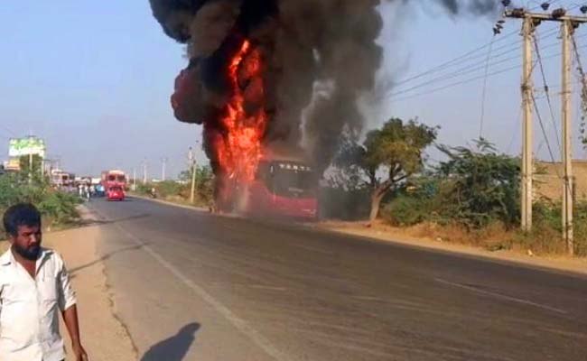 Bus in Telangana catches fire during journey, destroyed in minutes