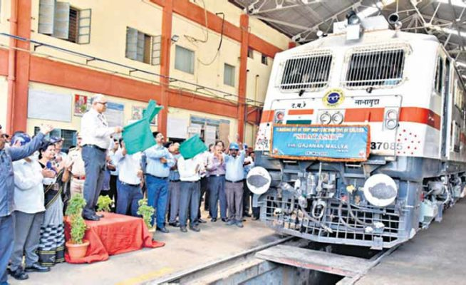 'Shatashv' WAP7 series locomotive flagged off in Hyderabad