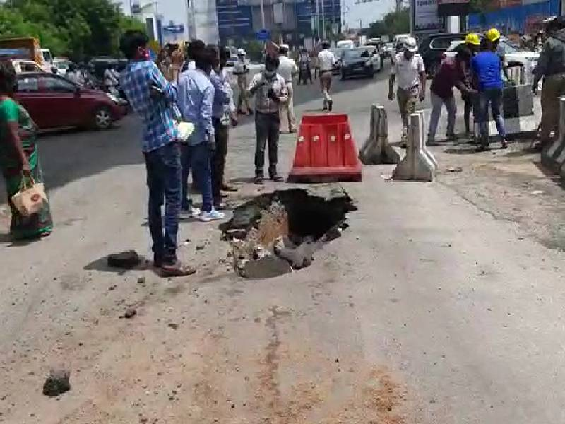 Road caves in at Jubilee Hills