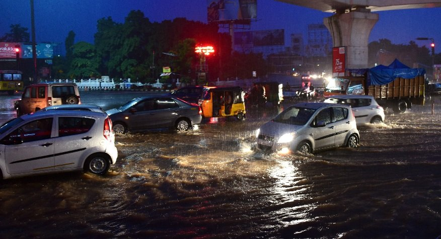 Heavy rain and strong winds lashed the Hyderabad city