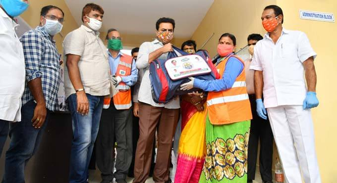 KTR distributes PPE kits to 2,500 entomology workers of GHMC