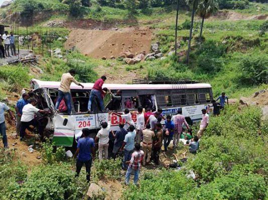Ten feared dead as RTC bus turns turtle in Jagtial