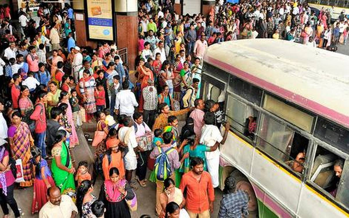 Heavy rush witnesses at bus stations in Hyderabad