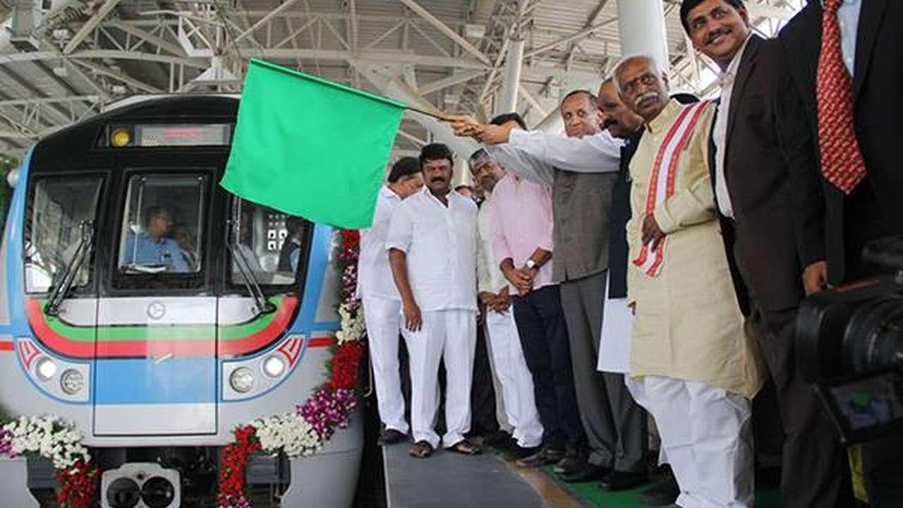 Metro rail service in Hyderabad hit