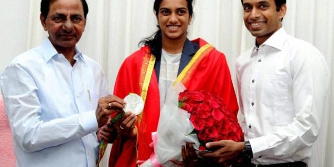 CM  KCR felicitates Sindhu for winning Silver Medal