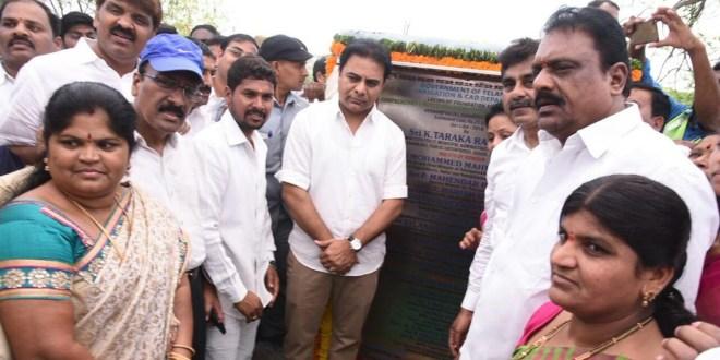 KTR kicks off lake development project at Neknampur