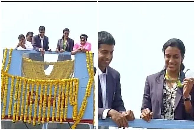 PV Sindhu reaches Hyderabad to rousing reception