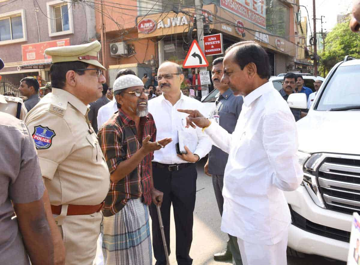 KCR helps disabled person while returning from Toli Chowki