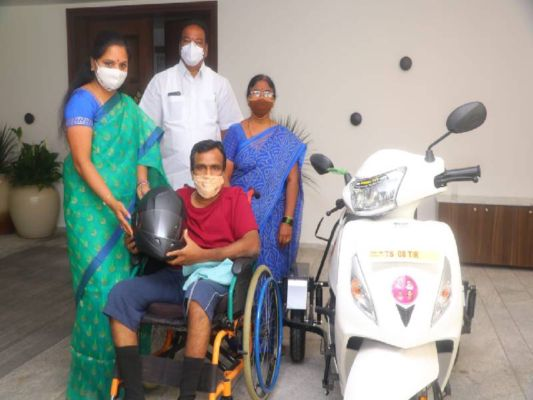 MLC Kavitha gifts 3-wheeler scooters to differently-abled persons