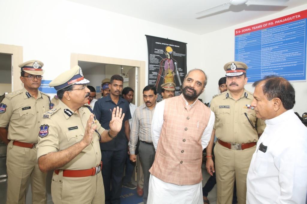 Union Minister Hansraj Ahir visits Panjagutta PS