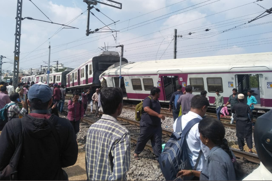 12 injured, driver trapped inside as two trains collide at Kacheguda railway station in Hyderabad