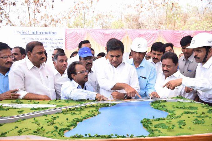 KTR lays foundation stone for cable bridge across Durgam Cheruvu