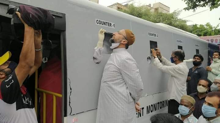 asaduddin-owaisi-inaugurated-mobile-bus-rtpcr-covid-19-testing-lab-in-malakpet-constituency