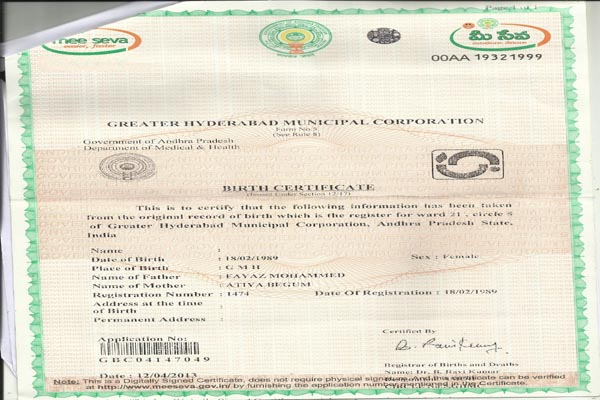 Sample birth certificate issued by ghmc image collections sample birth certificate issued by ghmc gallery certificate sample birth certificate issued by ghmc gallery certificate yadclub Images