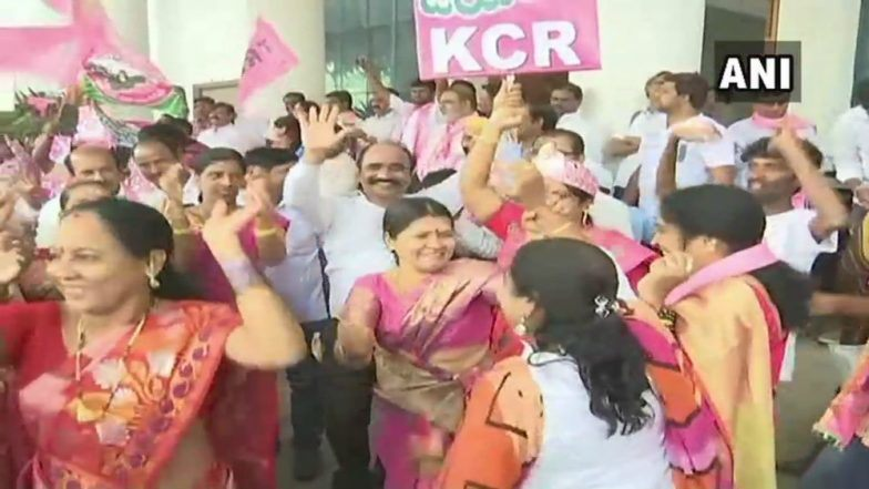 Celebrations at TRS HQ in Hyderabad
