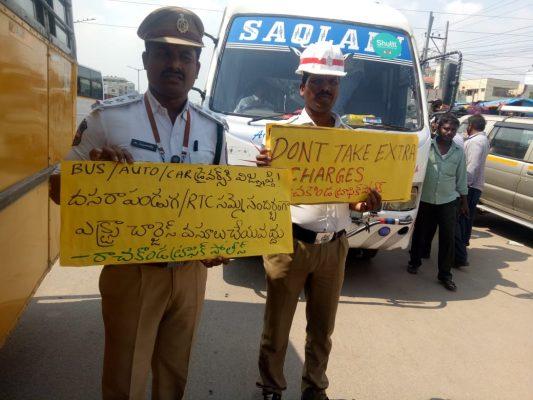 Rachakonda Traffic Cops urge rickshaws, private buses not to over charge