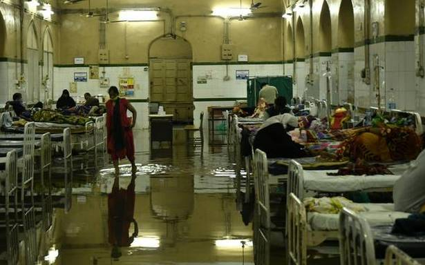 Several blocks in the Osmania General Hospital flooded with water due to the heavy rains