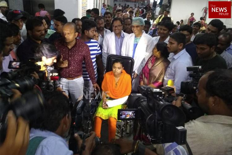 A month after her own father tried to kill her, Madhavi discharged from Hyd hospital