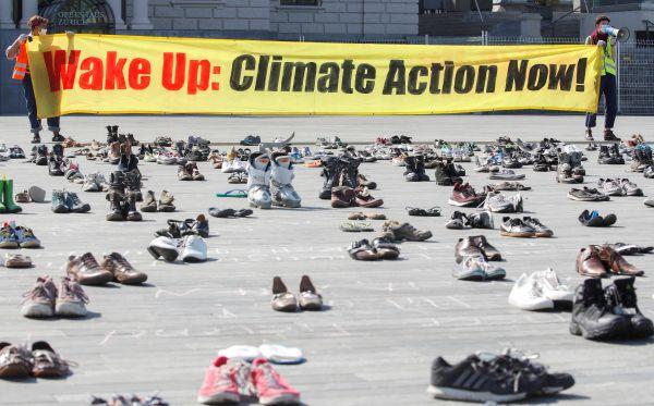 switzerland:climatechangeactivistscantprotestinpersonsotheirshoesplacedinrows