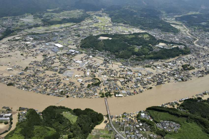 Heavy rain floods southern Japan
