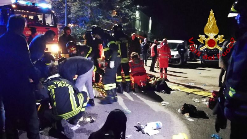 Six people killed, 12 injured in stampede at Italian nightclub: firefighters