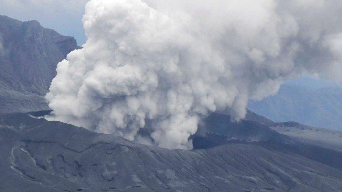 Volcano Mount Aso erupted in Japan