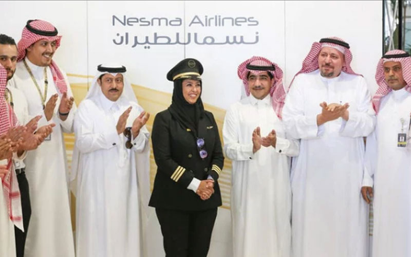 Saudi pilot Yasmeen Al-Maimani's first flight celebrated