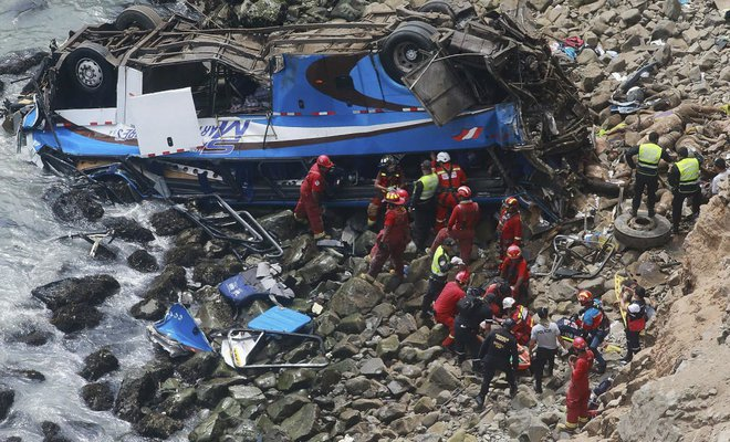 At least 48 dead as bus plunges onto rocky beach in Peru