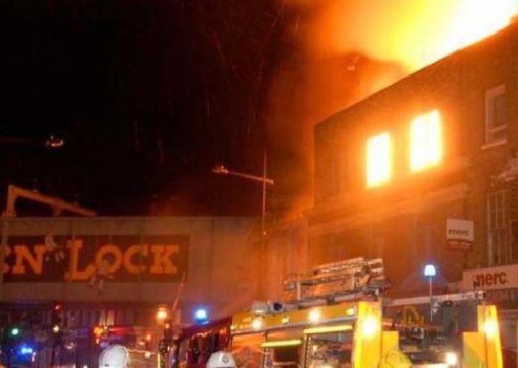 Massive fire broke out in Camden Lock market in London