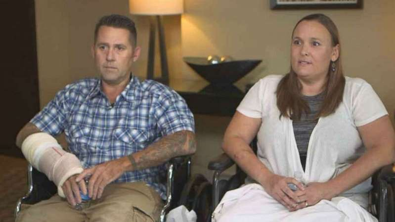 Couple recounts drama of crash-landing hot-air balloon after losing pilot