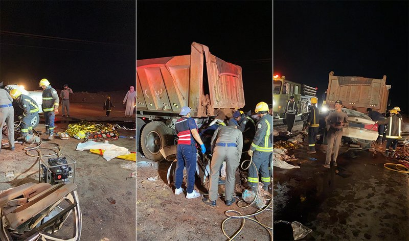 A truck kills 8 people of a family in Taif