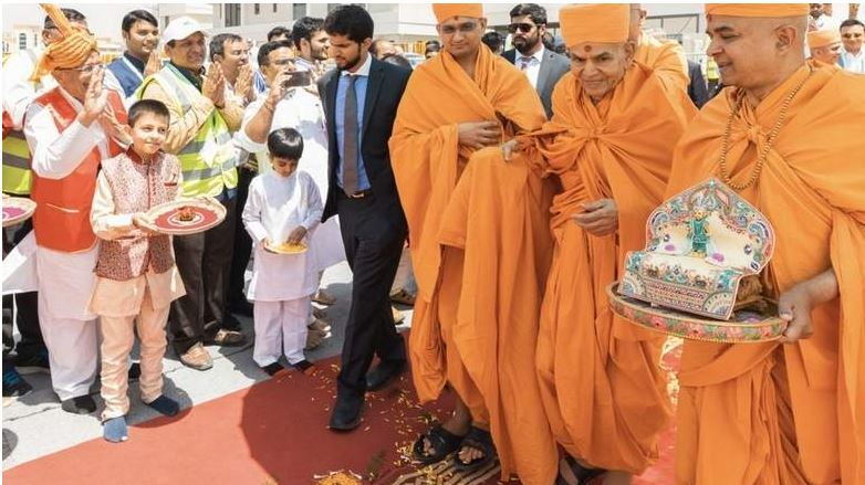 Stone laying ceremony of Hindu temple in UAE today