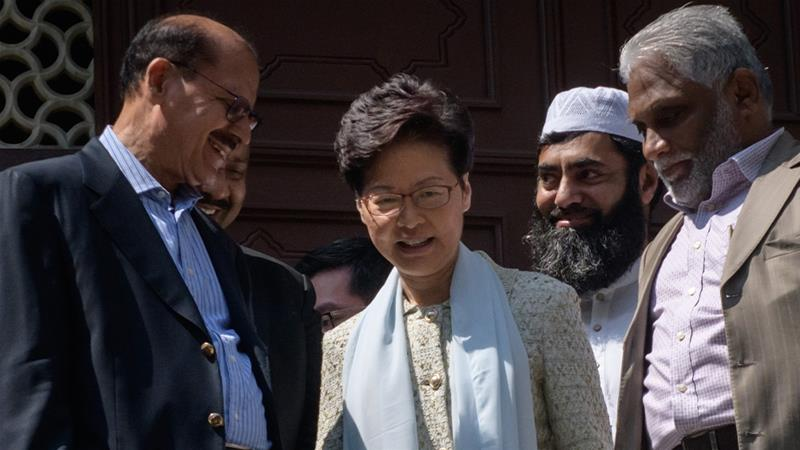 Hong Kong Chief apologises after water cannon sprays mosque entrance