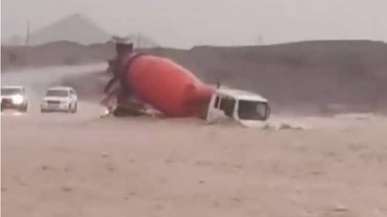 Cement truck swept away in RAK flood found, driver missing