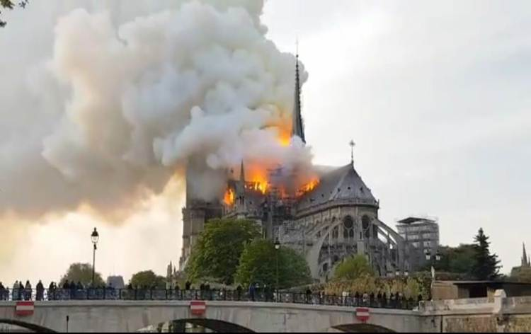 Fire-fighters control raging blaze at 850-year-old Notre-Dame Cathedral in France