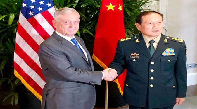 US Defence Secretary Jim Mattis meets his Chinese counterpart Wei Fenghe