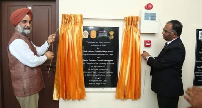 Rabindranath Tagore Memorial Auditorium dedicated to people in Sri Lanka