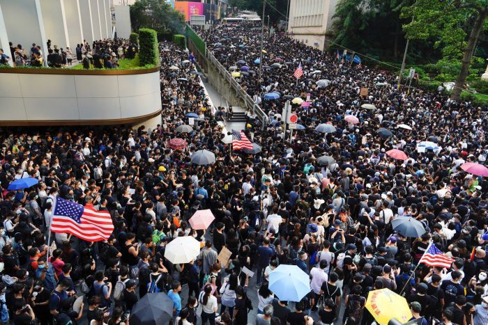 Hong Kong protesters urge US President to liberate the territory from China