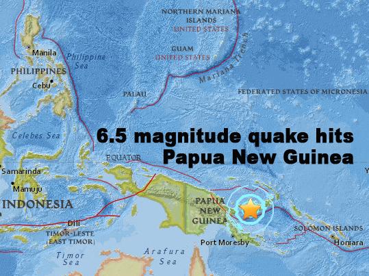 Magnitude 6.5 quake hits Papua Guinea