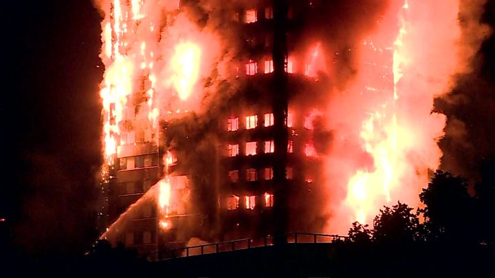 Huge fire engulfs tower block in west London, several trapped homes