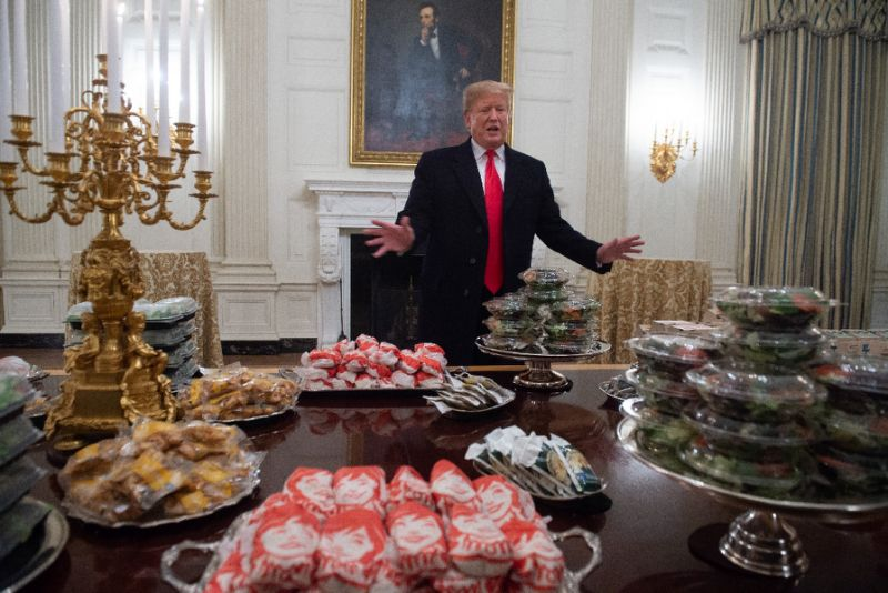 US President Donald Trump puts on fast food feast at White House